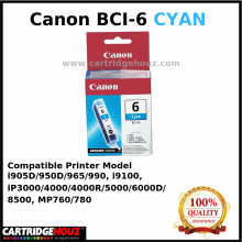Canon BCI-6 (Cyan) (14 ml) ink For i905D/950D/965/990, i9100, iP3000/4000/4000R/5000/6000D/8500, MP760/780