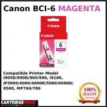 Canon BCI-6 (Magenta) (14 ml) ink For i905D/950D/965/990, i9100, iP3000/4000/4000R/5000/6000D/8500, MP760/780