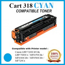 Compatible Canon Cart 318 / 418 Cyan Toner Cartridge (Cart 318 C) for Canon LBP-7200Cd/Cdn  LBP-7680Cx / MF8350Cdn /  MF8380Cdw / MF8580Cdw / MF729Cx