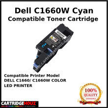 Compatible Dell C1660w / C1660 Cyan Toner Cartridge (1K PGS) for DELL C1660/ C1660W COLOR LED PRINTER