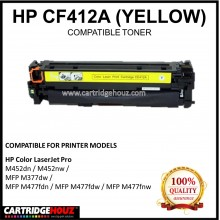 Compatible HP CF412A (410A) (Yellow)  Laser Toner Cartridge for HP Color LaserJet Pro M452dn / M452nw / MFP M377dw / MFP M477fdn / MFP M477fdw / MFP M477fnw Printer